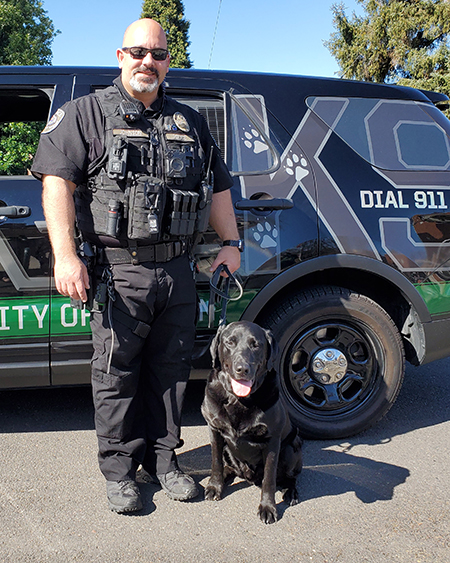 Onyx the police dog with his handler