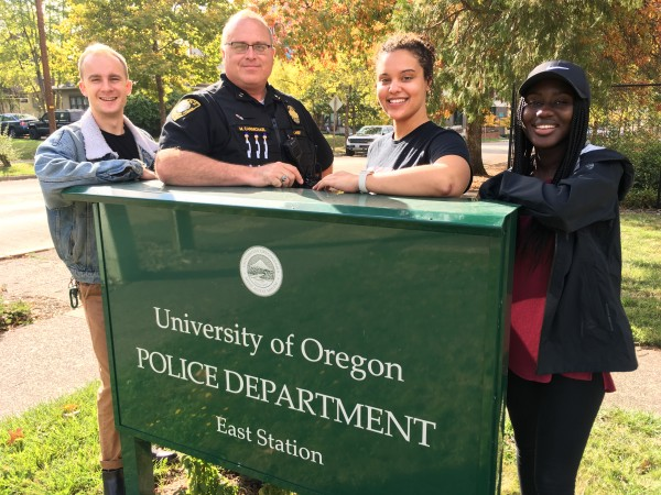 UO Police Chief Matt Carmichael and his students assistants